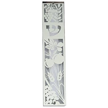 Clear Mezuzah Case With Laser Cut Metal Plate With Seven Species