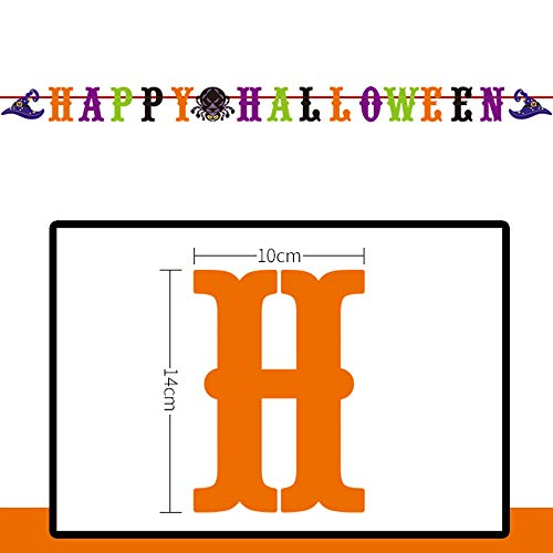 Chezaa Halloween Props Colorful Pull Flower Theme Long Hanging Bunting Banner Decorations (C) -