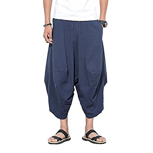 INVACHI Mens Elastic Waist Wide Leg Cotton Harem Baggy Pants Patchwork Linen Capri Trousers Available ,Navy,Large