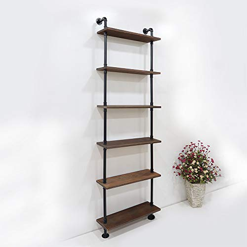 KINMADE Industrial Pipe Shelf Wall Shelf Rustic Wood with Black Iron Pipe 6 Tier by KINMADE (Image #1)