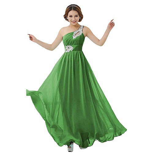 Chiffon Ball Kleid drasawee Lang Party One Shoulder Grasgrün Damen Brautjungfer Abendkleid qRPaER