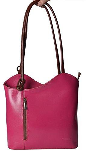 Italian Leather Bags Bolso de asas de Piel para mujer Pink/Brown