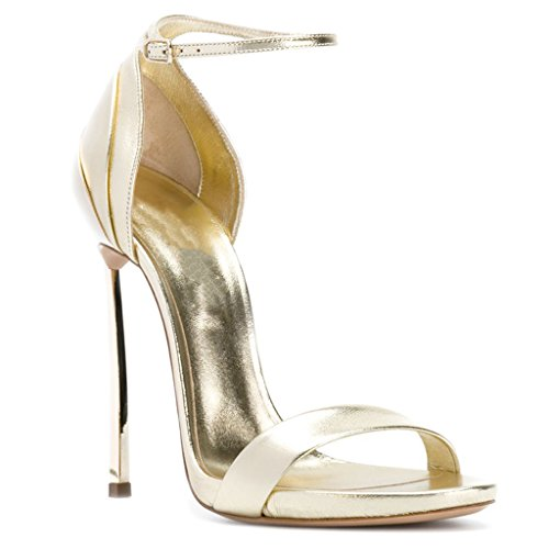 Girl's Women's High 35 Fashionable Open Buckle Temperament Sandals gao Toe Gold Heels Gold Party qd8wznHq
