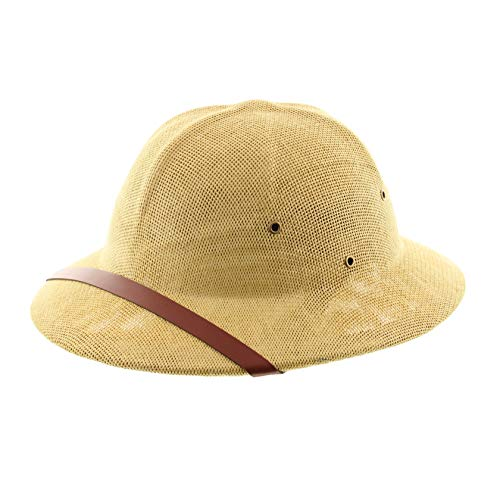 Milani Straw Pith Helmet Outdoor Hat with Adjustable Headband for Jungle Safari Explorer Costume (Khaki/Brown Band)