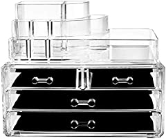 Makeup Cosmetic Storage Organizer Drawer - 4 box drawers with top multi-slot acrylic countertop vanity organizers! Brush...