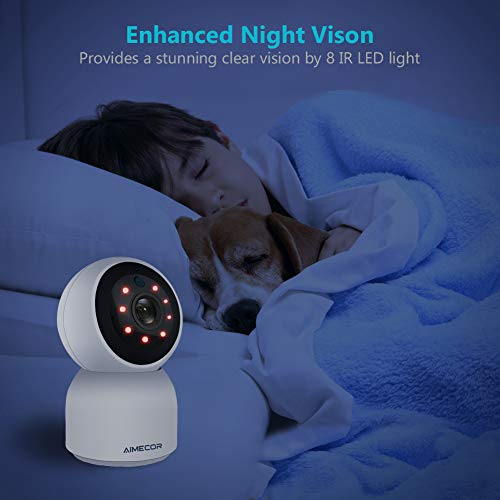 1080P WiFi Camera Indoor 2.4Ghz Home Camera with 2 Way Audio Night Vision iOS/Android