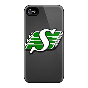 JacquieWasylnuk Apple Iphone 4/4s Best Hard Cell-phone Cases Custom Vivid Saskatchewan Roughriders Pattern [nVX14454GWAz]