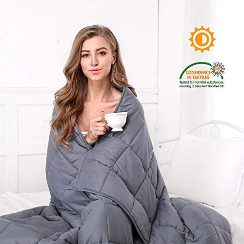 (OasisCraft Four Seasons Weighted Blanket-100% Cotton Weighted Blanket Inner, Heavy Blanket with Glass Beads for Sleep, Stress and Anxiety (60