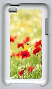 iPod 4 Case Cover,Red Poppy Flower Hard Case Cover for Apple iPod 4/ ipod 4th Generation PC Plastic White