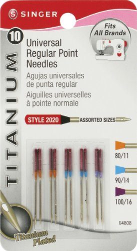 Singer Titanium Universal Regular Point Machine Needles for Woven Fabric, Assorted Sizes, 10-Pack