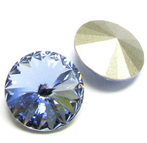 2 pcs Swarovski 1122 Crystal Round Rivoli Stone Silver Foiled Light Sapphire14mm / Findings / Crystallized Element (14 Mm Round Crystal)