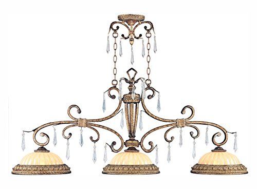 8883 Series - Vintage Gold Leaf 3 Light 300W Island/Billiard Light with Medium Bulb Base and Hand Crafted Gold Dusted Glass from La Bella Series