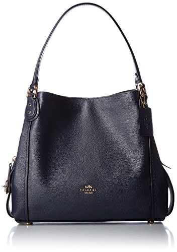 Coach Edie 31 Ladies Large Pebbled Leather Navy Shoulder Bag 57125 by Coach