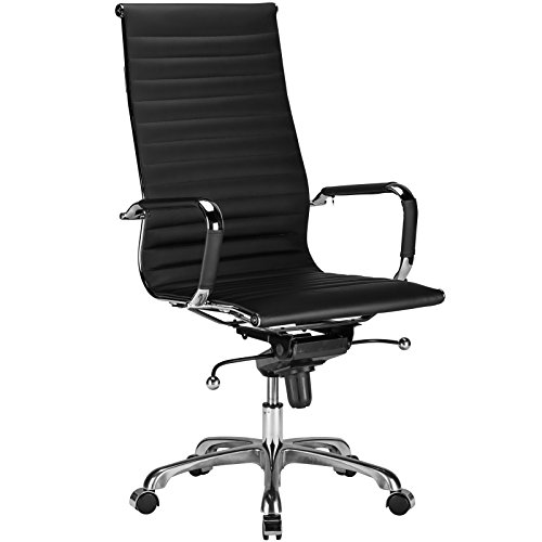 Poly and Bark Ribbed High Back Office Chair in Black
