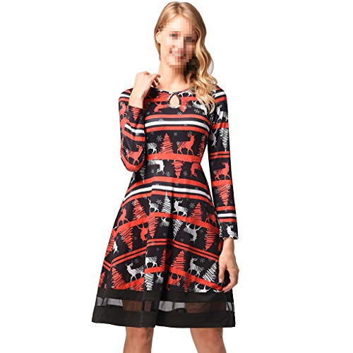 Inverno Stampata Vestito DRESS XXL Di Per Manica Maglia Abito Animato Lunga Natale Regali Adatto Feste Cartone E Autunno xxqH70wC