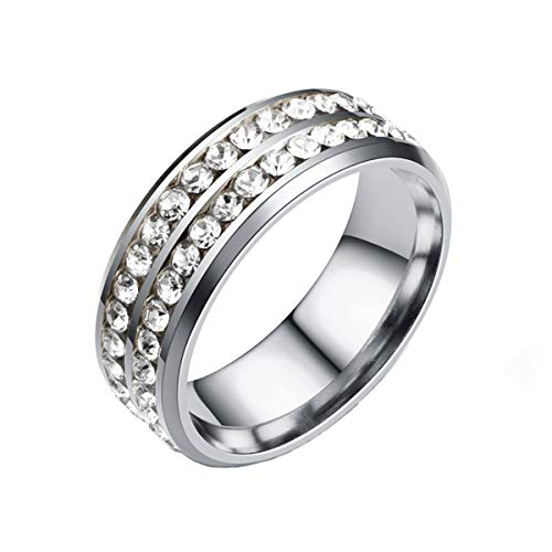 Kebaner Women Double Row Crystal CZ Diamond Zircon Ring Men 8mm Stainless Steel Unique Wedding Band 11 ()