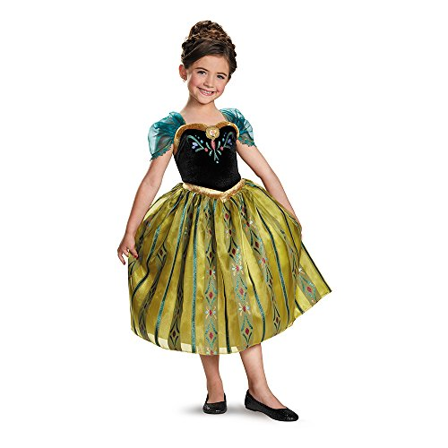 [Disguise Disney's Frozen Anna Coronation Gown Deluxe Girls Costume, Small/4-6x] (Sexy Halloween Dress Up)
