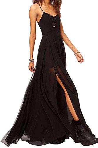 Friendshop Double-layered Split Side Black Swing Sexy Maxi Dress Black XS