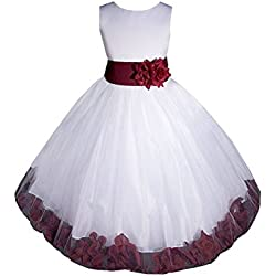 AMJ Dresses Inc Big Girls' White/burgundy Flower Dress E1008 Sz 8