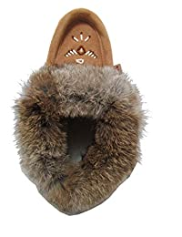 Laurentian Chief Fur Collar Rabbit Suede Moccasins Thick Fleece Lining
