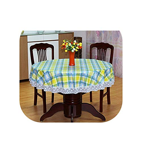 Tablecloths Flower Style Round Table Cloth Pastoral PVC Plastic Tablecloth Oilproof Decorative Elegant Waterproof Fabric Table Cover,01,180Cm -
