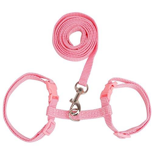 [TiaoBug Adjustable Pet Cat Body Harness Leash Lead Dog Rabbit Walking Lead Rope (Pink)] (Rabbit Leads)