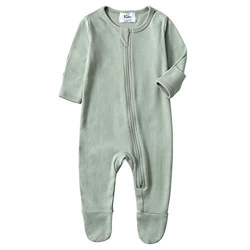 (O2Baby Baby Boys Girls Organic Cotton Zip Front Sleeper Pajamas, Footed Sleep 'n Play(6-12Months,Desert Sage))
