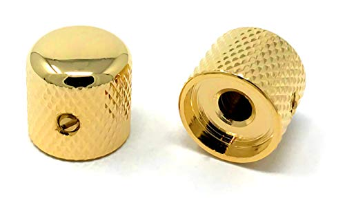 Gold Metal Dome Knobs for Electric Guitar & Bass (Set of 2) 6mm Shaft w/Set Screw by VINTAGE FORGE | DK50M-GLD
