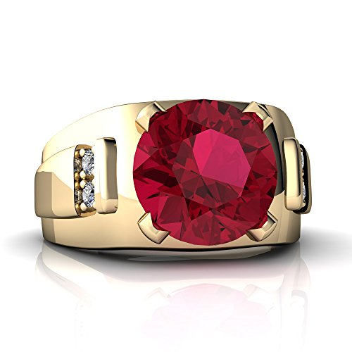 14kt Yellow Gold Lab Ruby and Diamond 9mm Round Men's Ring - Size 9 (Ruby Ring Mens Diamond)