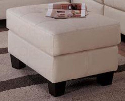 Cream Classic Leather Ottoman