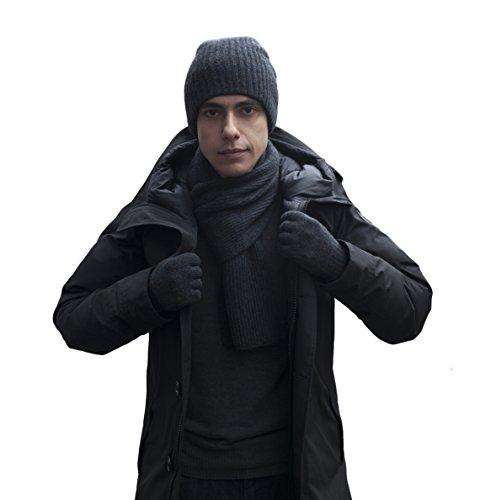 Extra Warm 100% Cashmere Men's Scarf, Beanie and Gloves Set (Dark Grey)