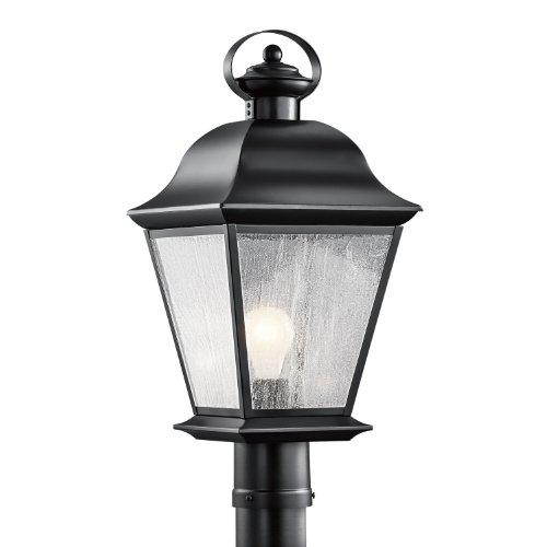 Kichler Lighting 9909BK Mount Vernon 1-Light Outdoor Post Mount, Black (Brass Outdoor Post Mount)