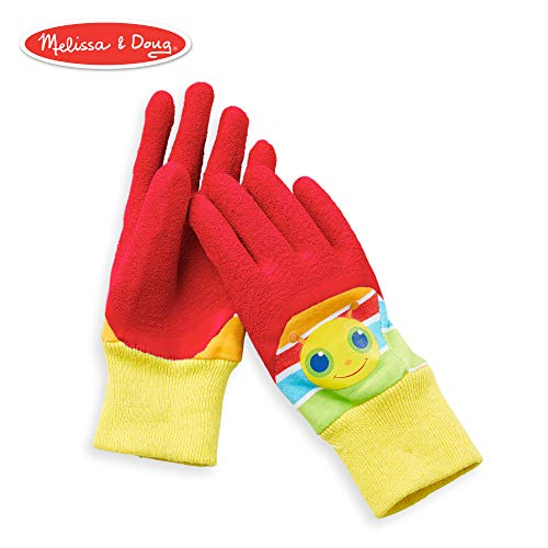 Melissa & Doug Giddy Buggy Good Gripping Gardening Gloves With Easy-Grip Rubber on Palms Ages3-6 (Gloves Kids Gardening)