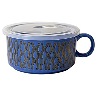 Boston Warehouse 22-Ounce Souper Bowl Cobalt Blue Wave Stoneware Mug with Lid