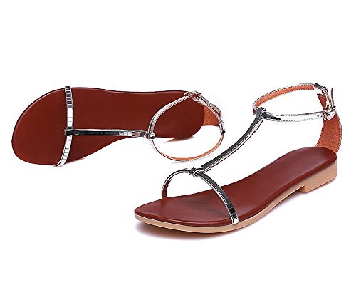 VogueZone009 Materials Heels Sandals Women Open Solid Low Silver Blend Buckle Toe rPrqwxa