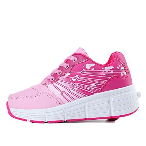 5f98f47db3207 Girls Two Wheels Roller Skate Shoes Kids Sports Sneaker US little kid 2.5  Pink