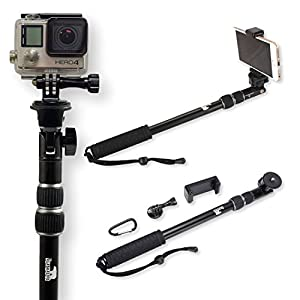 selfie stick use as gopro pole and monopod camera mount go pro accessories kit. Black Bedroom Furniture Sets. Home Design Ideas