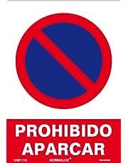 Normaluz RD40040 RD40040-Señal Prohibido Aparcar PVC Glasspack 0,7 mm 21x30 cm, Rojo