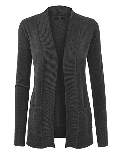 Made By Johnny WSK926 Women Open Front Knit Cardigan XL Charcoal