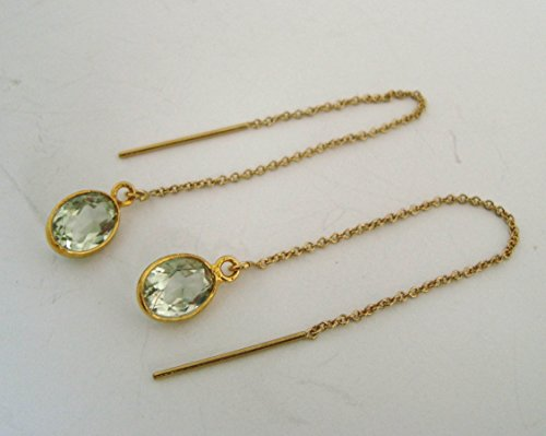 oval Natural green amethyst 14k yellow gold filled chain earrings (Gold Amethyst Threader Earrings)