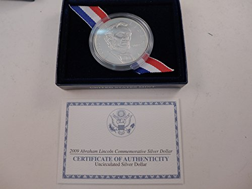 2009 Abraham Lincoln Commemorative Silver Dollar $1 Gem Uncirculated US Mint