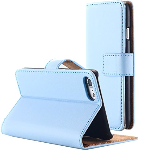 iPhone 7 Case, AICase Leather iPhone 7 Wallet Case [Magnetic Closure] [Credit Card Holder] Flip Book Design Stand Folio Protective Cover Case for Apple iPhone 7 (Light blue)