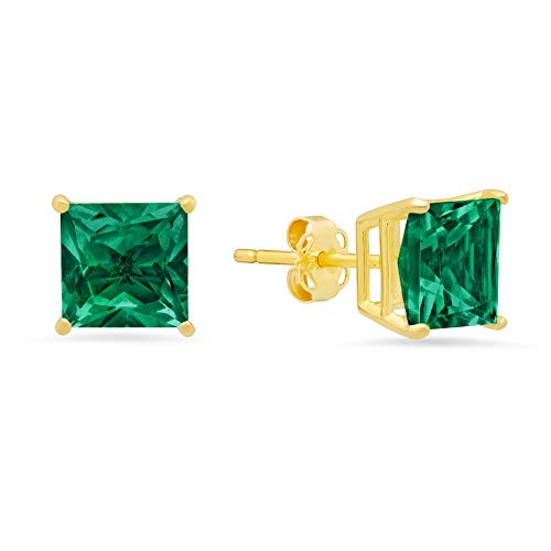 - 14k White or Yellow Gold Solitaire Princess-Cut Created Emerald Stud Earrings (7mm)