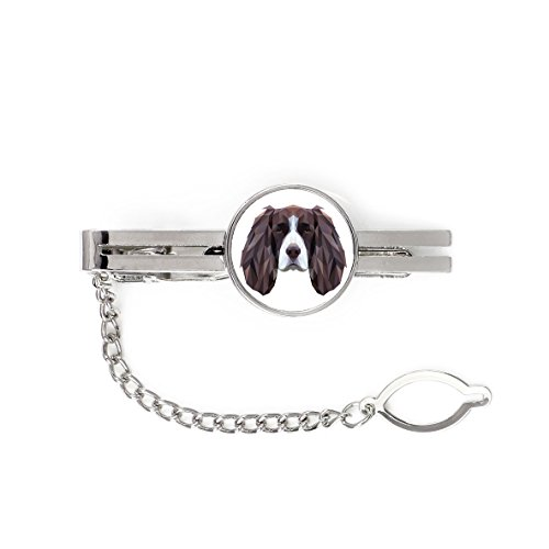(Springer Spaniel, tie pin, Clip with an Image of a Dog, Elegant, Geometric )