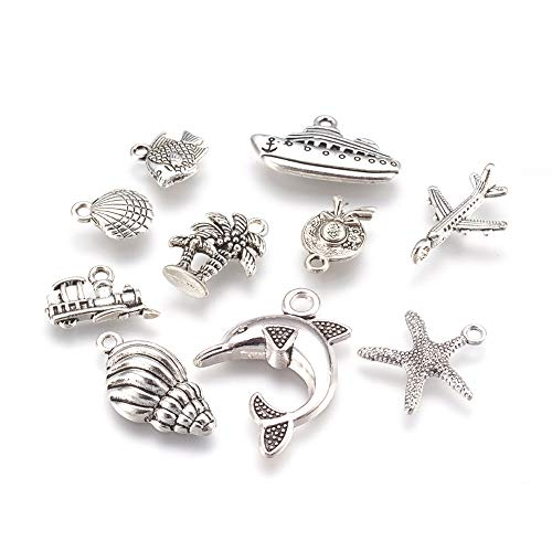 - Kissitty 60Pcs 10 Styles Antique Silver Mixed Charms Collections 12~30mm Tibetan Metal Pendants for DIY Jewelry Craft Making