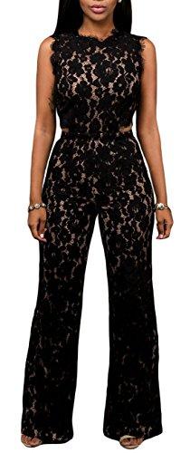 Made2envy Lace Nude Illusion Back Cutout Jumpsuit (M, Black) LC64117MB