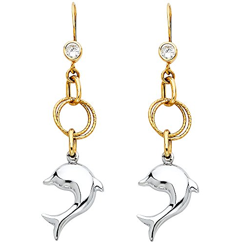 - 14k Two Tone Gold Fancy Dolphin Dangle Earrings (12 x 50mm)