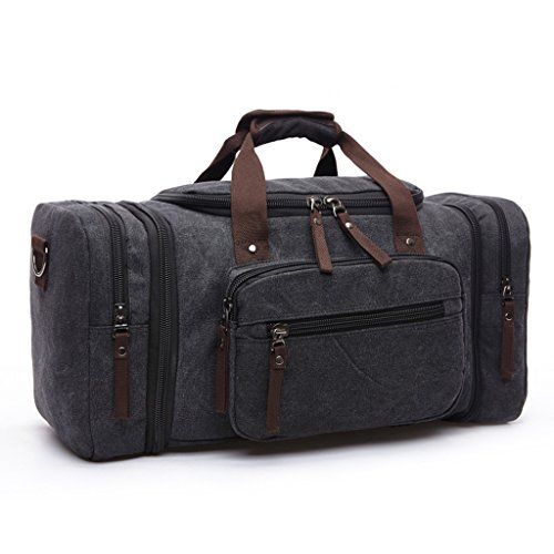 C-Xka High Capacity Unisex Canvas Holdall,Travel Carry On duffles Bags Overnight Weekend/Weekender Bag for Men and Women (Color : Black)
