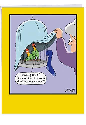 - Jumbo Sock On The Doorknob Birthday Card Hilarious 8.5 x 11 Inch Greeting Card with Envelope Funny Cartoon - Grandma Peeping on Two Love Birds in Bird Cage - Do Not Disturb J1271