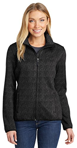 Port Authority Womens Sweater Fleece Jacket (L232) -BLACK HEAT -XXL by Port Authority